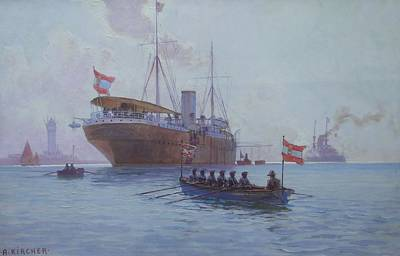 Austrian Post Steamer Pelican Moored In A Bay At Anchor Print by Alexander Kircher