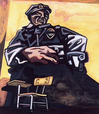 Police Art Painting - Authority Figure by Karl Frey
