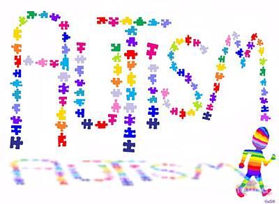 Digital Art - Autism Awareness Artwork by Nick Gustafson