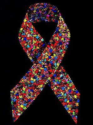 Mixed Media - Autism Awareness Ribbon  by Doug Powell