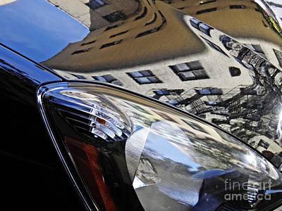 Beige Glass Photograph - Auto Headlight 174 by Sarah Loft