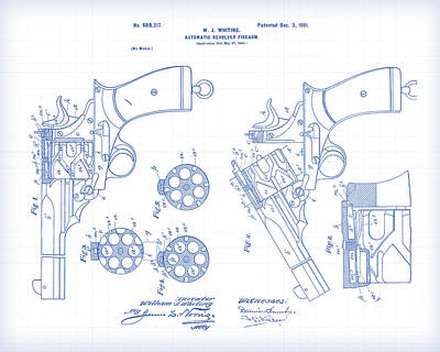 Painting - Auto Revolver Patent Drawing by Gary Grayson