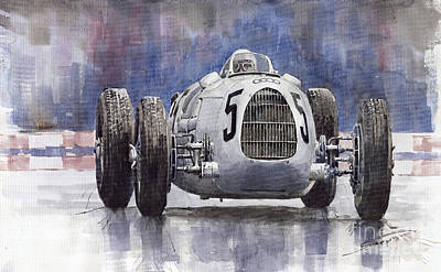 Sports Cars Painting - Auto-union Type C 1936 by Yuriy  Shevchuk