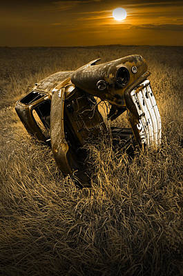 Photograph - Auto Wreck In A Grassy Field On The Prairie At Sunset by Randall Nyhof