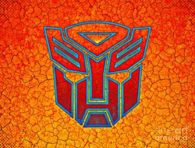 Illustrations Digital Art - Autobot Cracked by Justin Moore