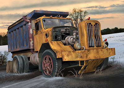 Digital Art - Autocar Dumptruck by Stuart Swartz