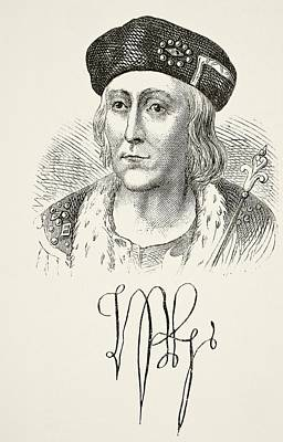 Autographed Drawing - Autograph And Portrait Of King Henry by Vintage Design Pics