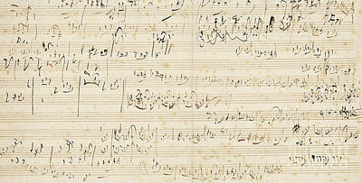 Composition Drawing - Autograph Music Manuscript, A Sketchleaf For The Slow Movement Of The String Quartet In C by Ludwig van Beethoven