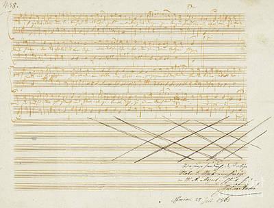 Sheet Music Drawing - Autograph Music Manuscript, Zwei Deutsche Kirchenlieder by Wolfgang Amadeus Mozart