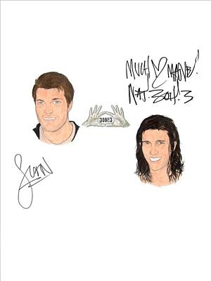 Alternative Rock Group Drawing - Autographed 3oh3 Sean Foreman And Nathaniel Motte by Michael Dijamco