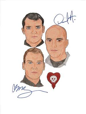 Alternative Rock Group Drawing - Autographed Alkaline Trio by Michael Dijamco