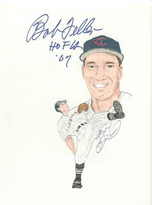 Cleveland Indians Drawing - Autographed Bob Feller by Michael Dijamco
