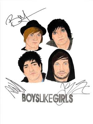 Alternative Rock Group Drawing - Autographed Boys Like Girls by Michael Dijamco