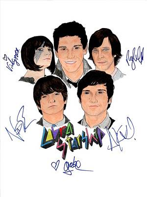 Alternative Rock Group Drawing - Autographed Cobra Starship  by Michael Dijamco