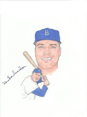 Brooklyn Dogers Drawing - Autographed Duke Snider by Michael Dijamco