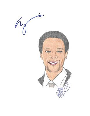 Edi Gathegi Drawing - Autographed Edi Gathegi   by Michael Dijamco