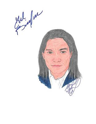 Billy Black Drawing - Autographed Gil Birmingham by Michael Dijamco