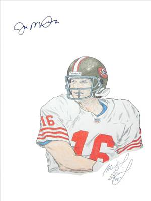 Sf 49ers Drawing - Autographed Joe Montana Portrait by Michael Dijamco