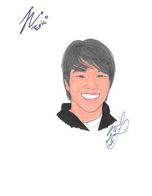 Justin Chon Drawing - Autographed Justin Chon by Michael Dijamco