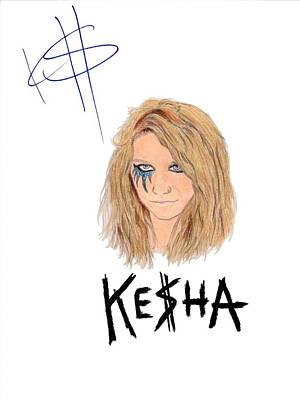 Alternative Rock Group Drawing - Autographed Kesha  by Michael Dijamco
