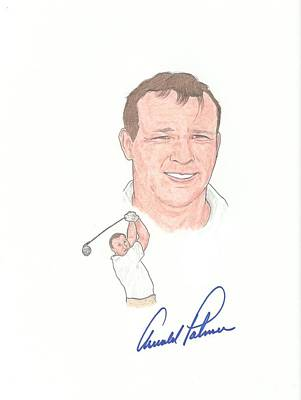 Arnold Palmer Drawing - Autographed Legandary Golfer Arnold Palmer by Michael Dijamco