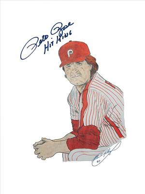 Pete Rose Drawing - Autographed Pete Rose The Hit King by Michael Dijamco