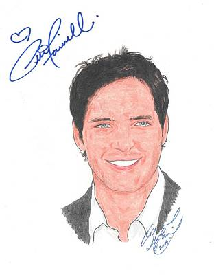 Peter Facinelli Drawing - Autographed Peter Facinelli by Michael Dijamco