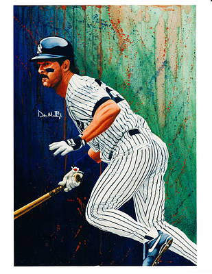 Mattingly Painting - Autographed Portrait Of Don Mattingly by Brett Farr
