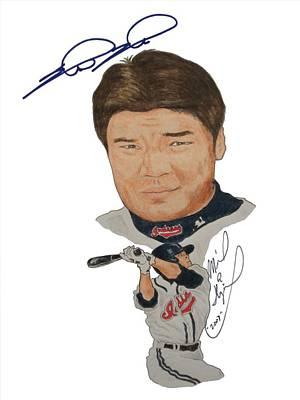 Shin-soo Choo Drawing - Autographed Shin-soo Choo Portrait by Michael Dijamco