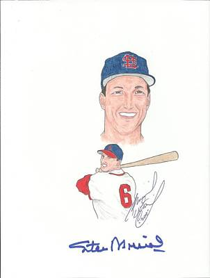 St. Louis Cardinals Drawing - Autographed Stan Musial by Michael Dijamco