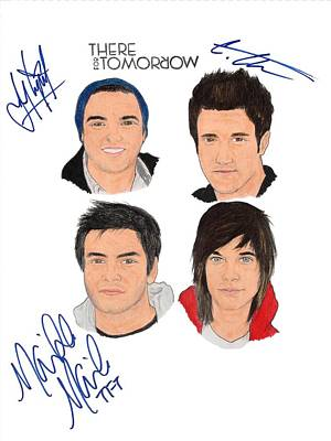 Alternative Rock Group Drawing - autographed THERE FOR TOMORROW by Michael Dijamco