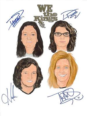 Alternative Rock Group Drawing - Autographed We The Kings by Michael Dijamco