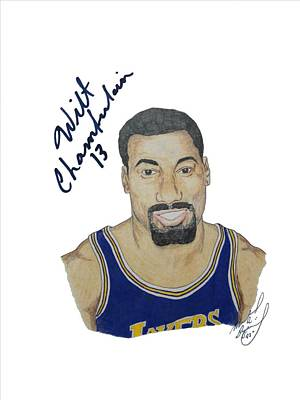 Upper Deck Authenticated Drawing - Autographed Wilt Chamberlain Portrait Upper Deck Authenticated by Michael Dijamco