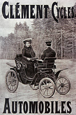 Achieving - Automobile - Clement - Cycles - Old Poster - Vintage - Wall Art - Art Print - Old Car by Art Makes Happy