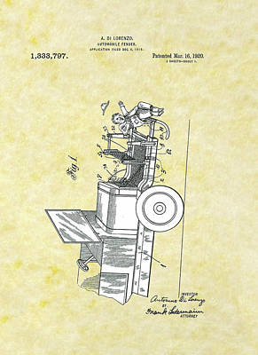 Drawing - Automobile Fender Patent by Movie Poster Prints