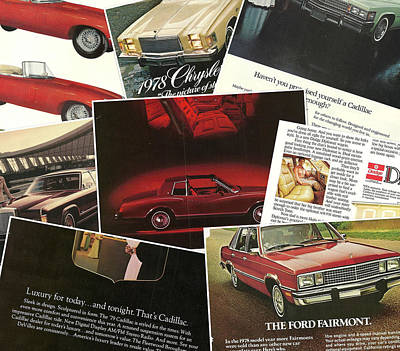Photograph - Automotive Ad's Collage 2 by John Schneider