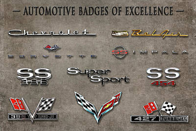 Photograph - Automotive Badges Of Excellence  -  Badges1116 by Frank J Benz