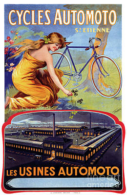 Painting - Automoto Cycles 1914 Vintage Advertising Poster by Carsten Reisinger