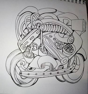 Drawing - Autonomous Robot Motorbikes Of Bellingham - London 01 by Mudiama Kammoh