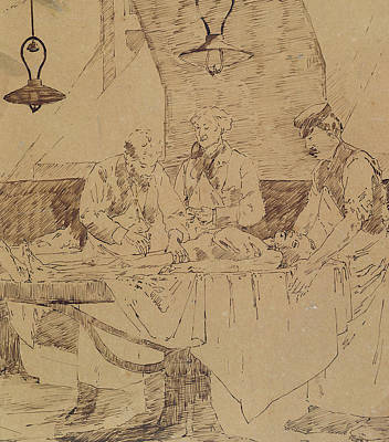 Lab Drawing - Autopsy At The Hotel-dieu by Henri Gervex