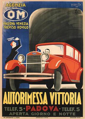 Mixed Media - Autorimessa Vittoria - Padova, Italy - Vintage French Advertising Poster by Studio Grafiikka