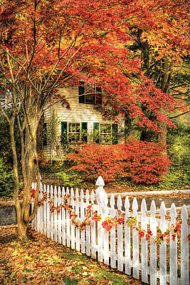 Autumn - House - Festive  Art Print by Mike Savad