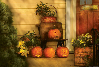 Whimsy Photograph - Autumn - Pumpkin - The Jolly Bunch by Mike Savad
