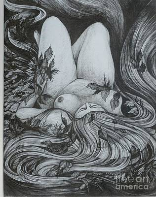 Art Print featuring the drawing Autumn 2 by Anna  Duyunova