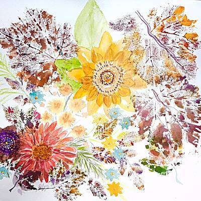Painting - Autumn Abstract Sunflowers And Leaves  by Ellen Levinson