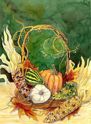 Grapevines Painting - Autumn Abundance - Fall Harvest Basket Indian Corn Pumpkin Gourds by Audrey Jeanne Roberts