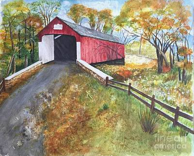 Painting - Autumn Afternoon At Knechts Covered Bridge by Lucia Grilletto