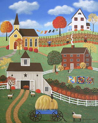Folk Art Painting - Autumn Afternoon by Mary Charles