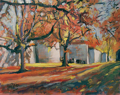 Briex Painting - Autumn Along Maastricht City Wall by Nop Briex
