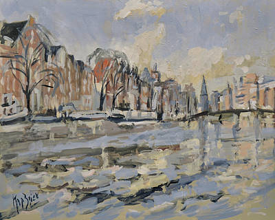 Painting - Autumn Along The Amstel In Amsterdam by Nop Briex